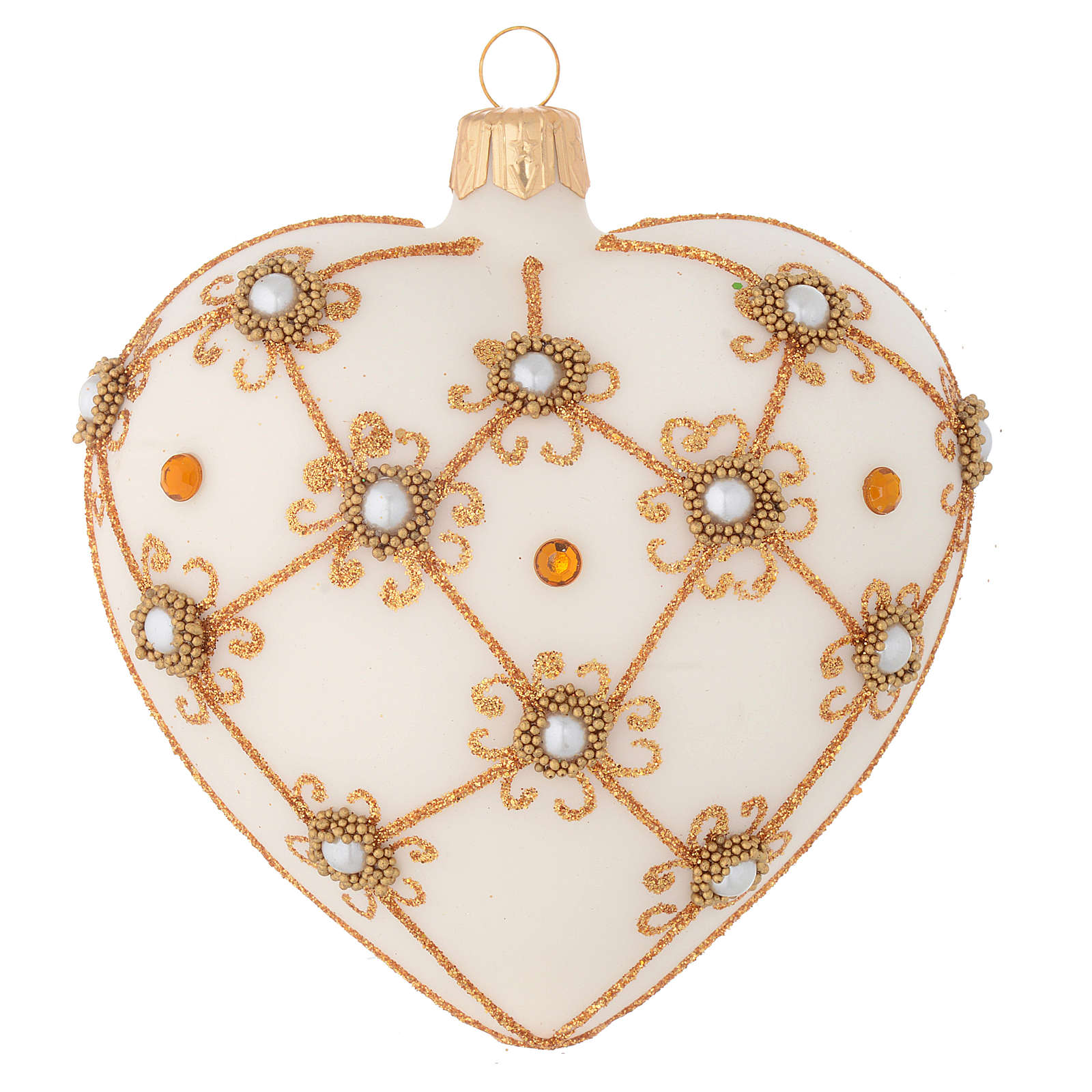 Cuore decorazione Albero Natale avorio e oro 100 mm 4