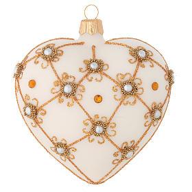 Cuore decorazione Albero Natale avorio e oro 100 mm s1