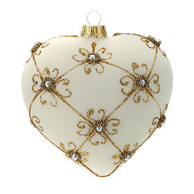 Heart Shaped Christmas bauble in blown glass with ivory and gold decorations 100mm s3