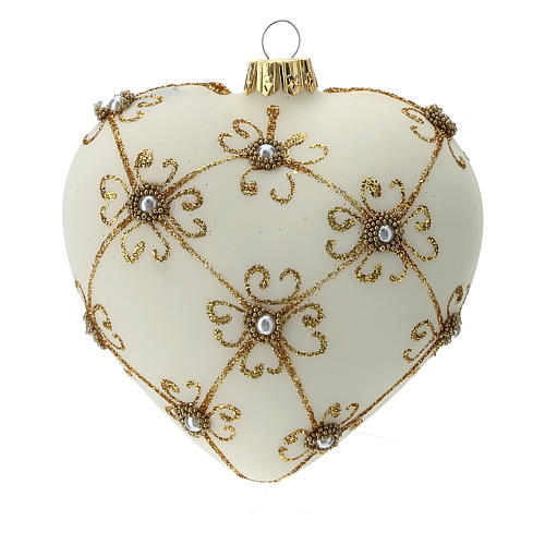 Heart Shaped Christmas bauble in blown glass with ivory and gold decorations 100mm 1