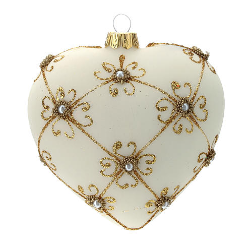 Heart Shaped Christmas bauble in blown glass with ivory and gold decorations 100mm 3