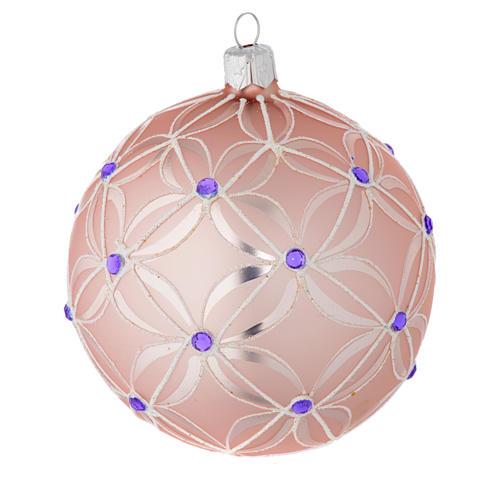 Pallina Albero vetro soffiato rosa e viola 100 mm 2