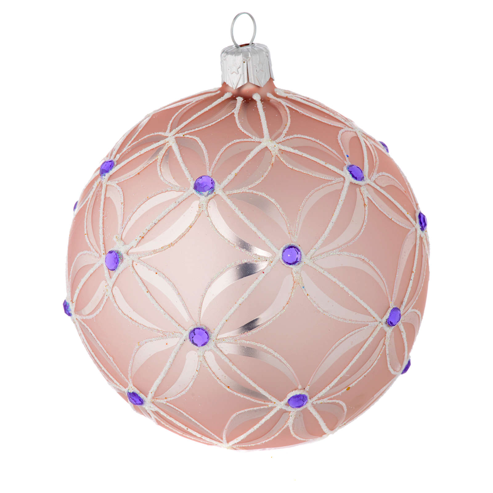 Christmas bauble in blown glass, pink and violet 100mm 4