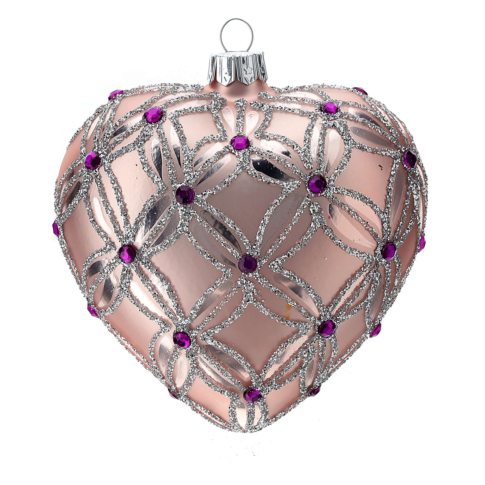 Heart Shaped Christmas bauble in blown glass with pink and violet decorations 100mm 4