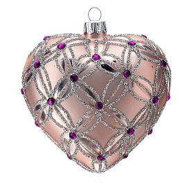 Heart Shaped Christmas bauble in blown glass with pink and violet decorations 100mm s1