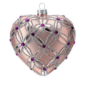 Heart Shaped Christmas bauble in blown glass with pink and violet decorations 100mm s2
