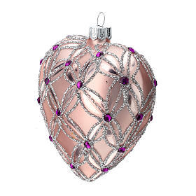 Heart Shaped Christmas bauble in blown glass with pink and violet decorations 100mm s3