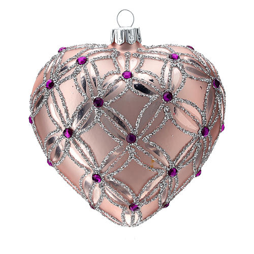 Heart Shaped Christmas bauble in blown glass with pink and violet decorations 100mm 2