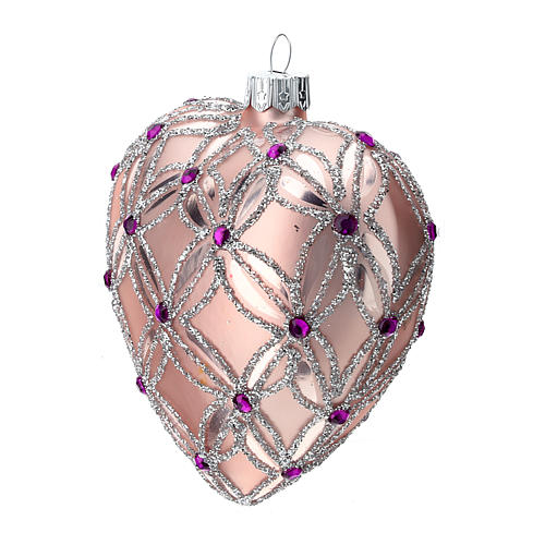 Heart Shaped Christmas bauble in blown glass with pink and violet decorations 100mm 3