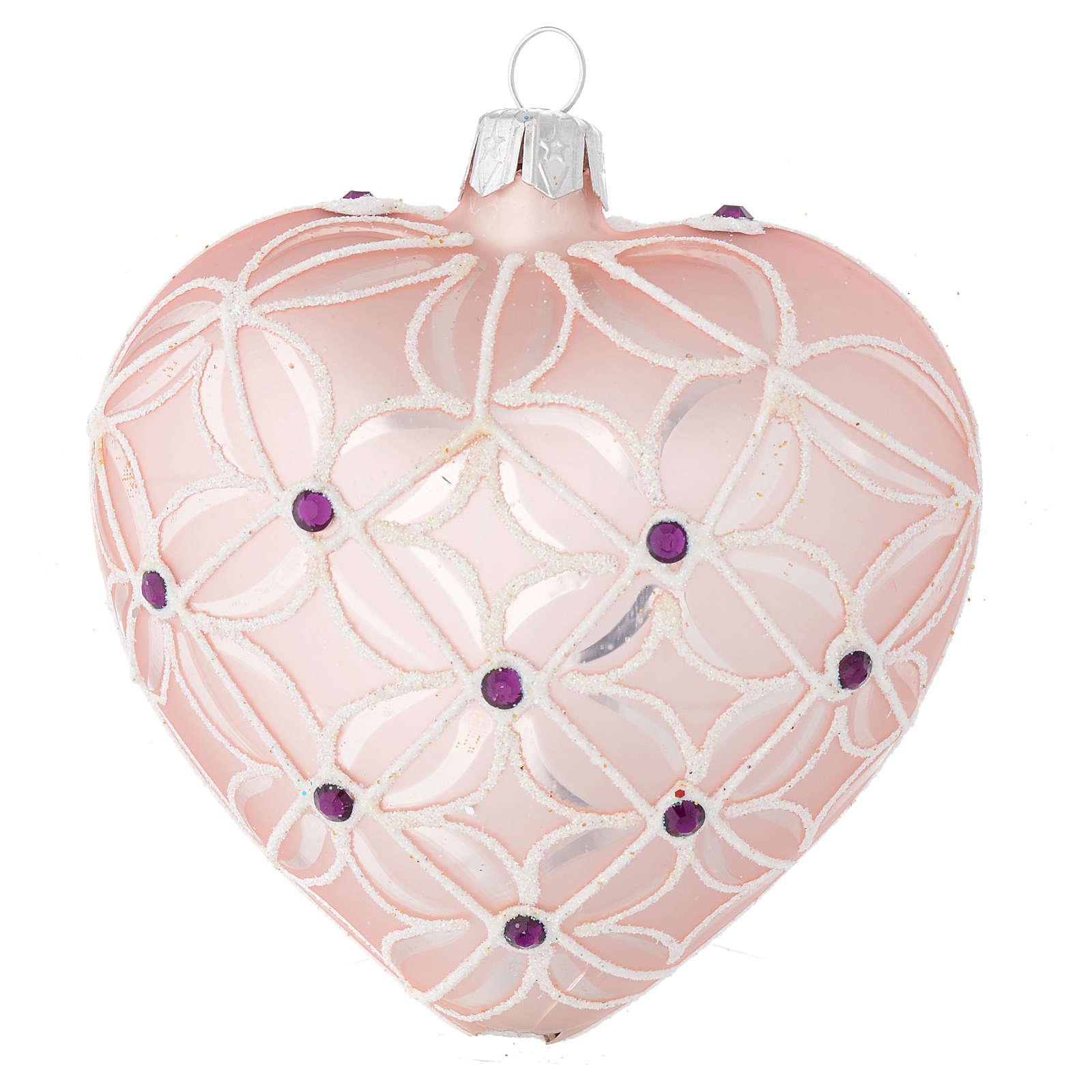 Coeur sapin Noël verre soufflé rose et violet 100 mm 4