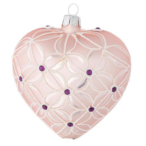 Coeur sapin Noël verre soufflé rose et violet 100 mm 1