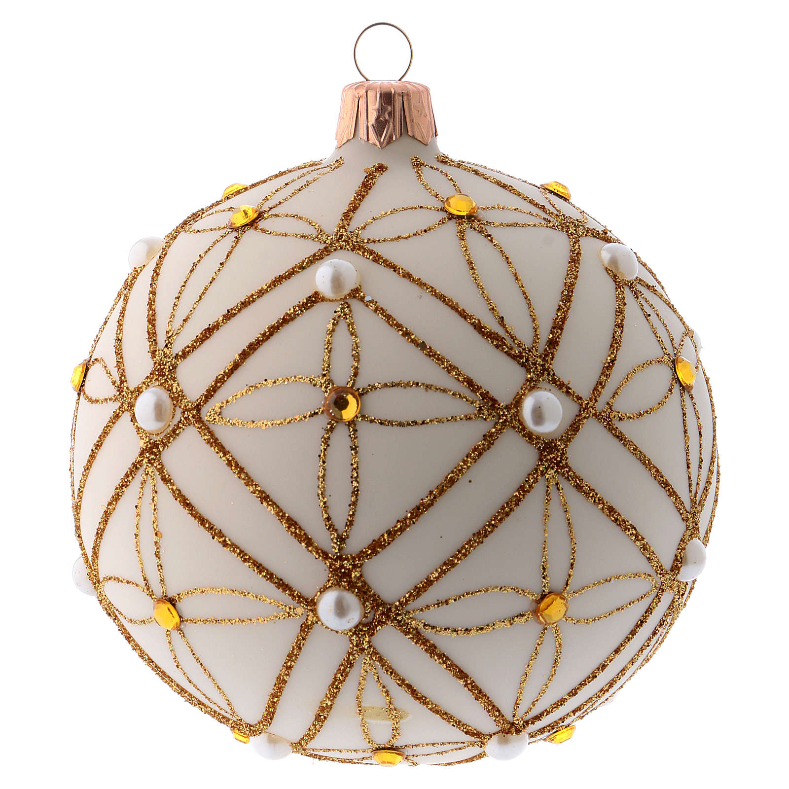 Christmas bauble in ivory blown glass, red and gold decoration 100mm 4