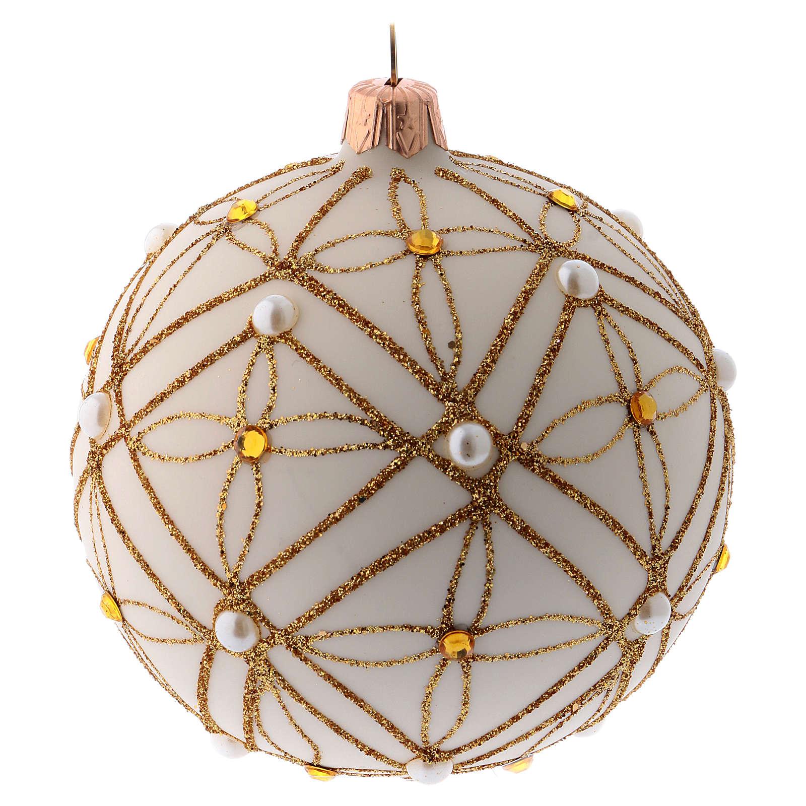 Bola de Navidad de vidrio soplado marfil decoraciones oro y rojo 100 mm 4