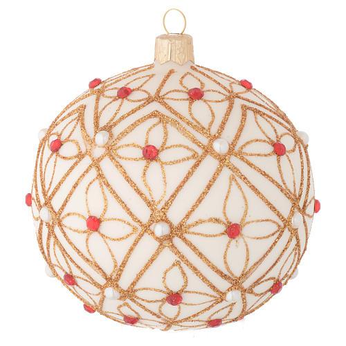 Bola de Navidad de vidrio soplado marfil decoraciones oro y rojo 100 mm 1