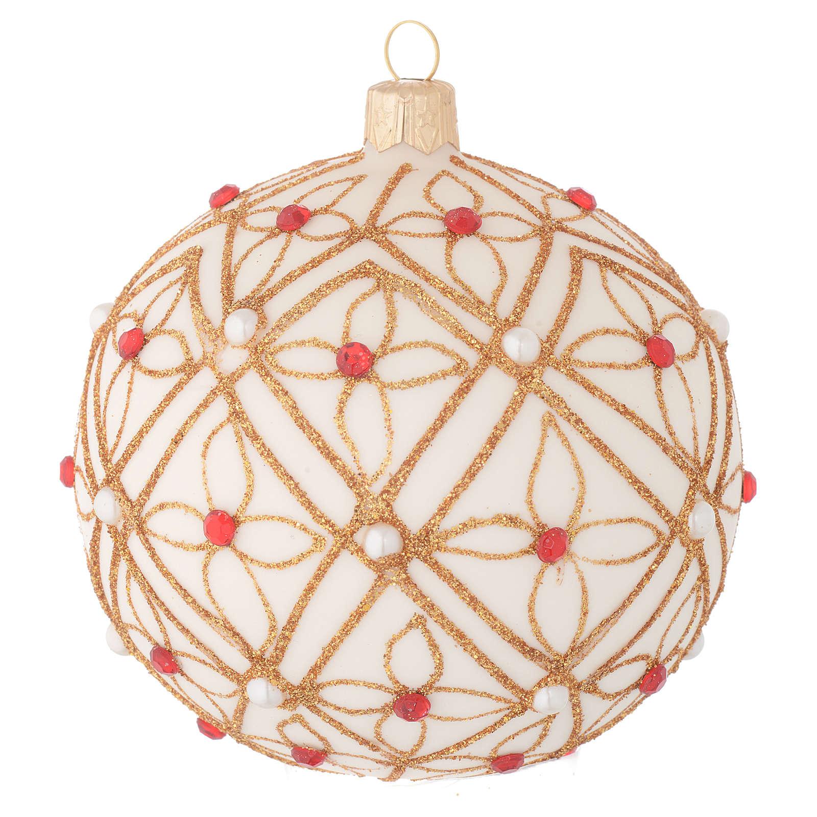 Pallina vetro soffiato avorio decoro oro e rosso 100 mm 4