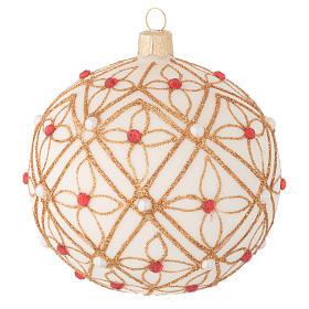 Pallina vetro soffiato avorio decoro oro e rosso 100 mm s1