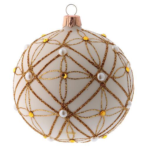 Pallina vetro soffiato avorio decoro oro e rosso 100 mm 1