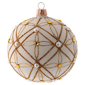 Christmas bauble in ivory blown glass, red and gold decoration 100mm s1