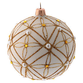 Christmas bauble in ivory blown glass, red and gold decoration 100mm s2