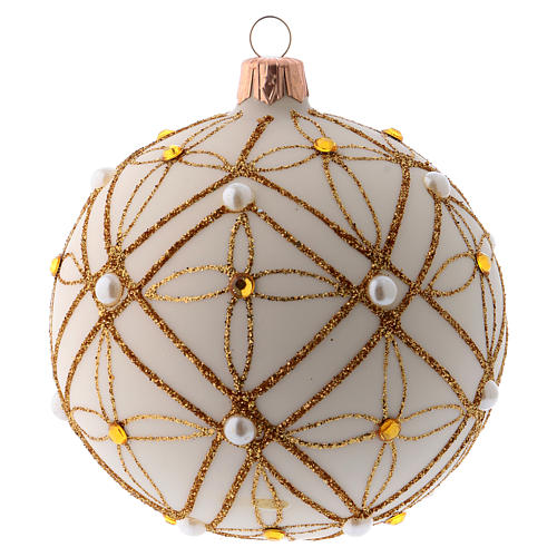 Christmas bauble in ivory blown glass, red and gold decoration 100mm 1