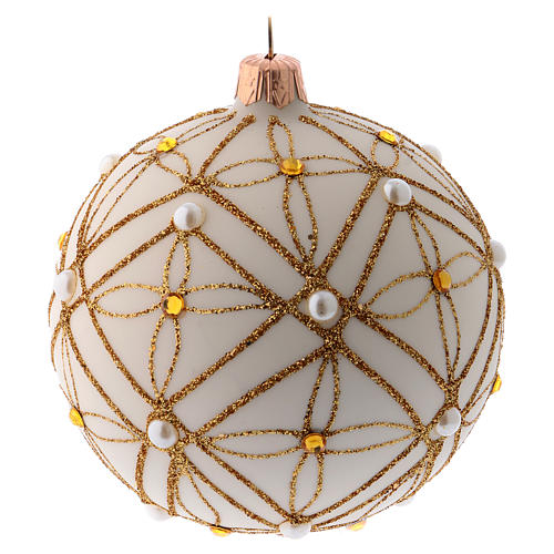 Christmas bauble in ivory blown glass, red and gold decoration 100mm 2