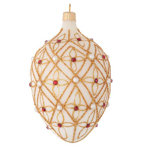 Palla ovale vetro soffiato avorio decoro oro e rosso 130 mm 2