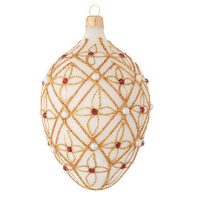 Oval Christmas bauble in ivory blown glass, red and gold decoration 130mm s1