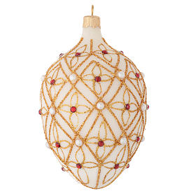 Oval Christmas bauble in ivory blown glass, red and gold decoration 130mm s2