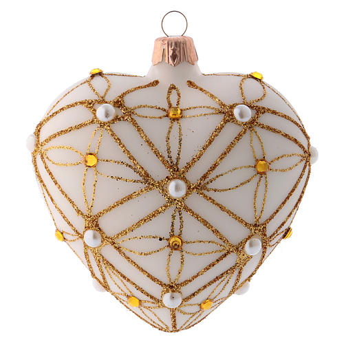 Heart Shaped Christmas bauble in ivory glass with red and gold decorations 100mm 3