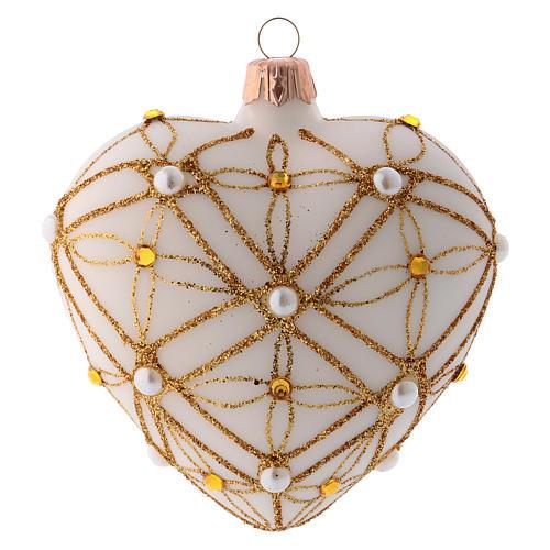 Bola de Navidad corazón de vidrio soplado marfil decoraciones oro y rojo 100 mm 3