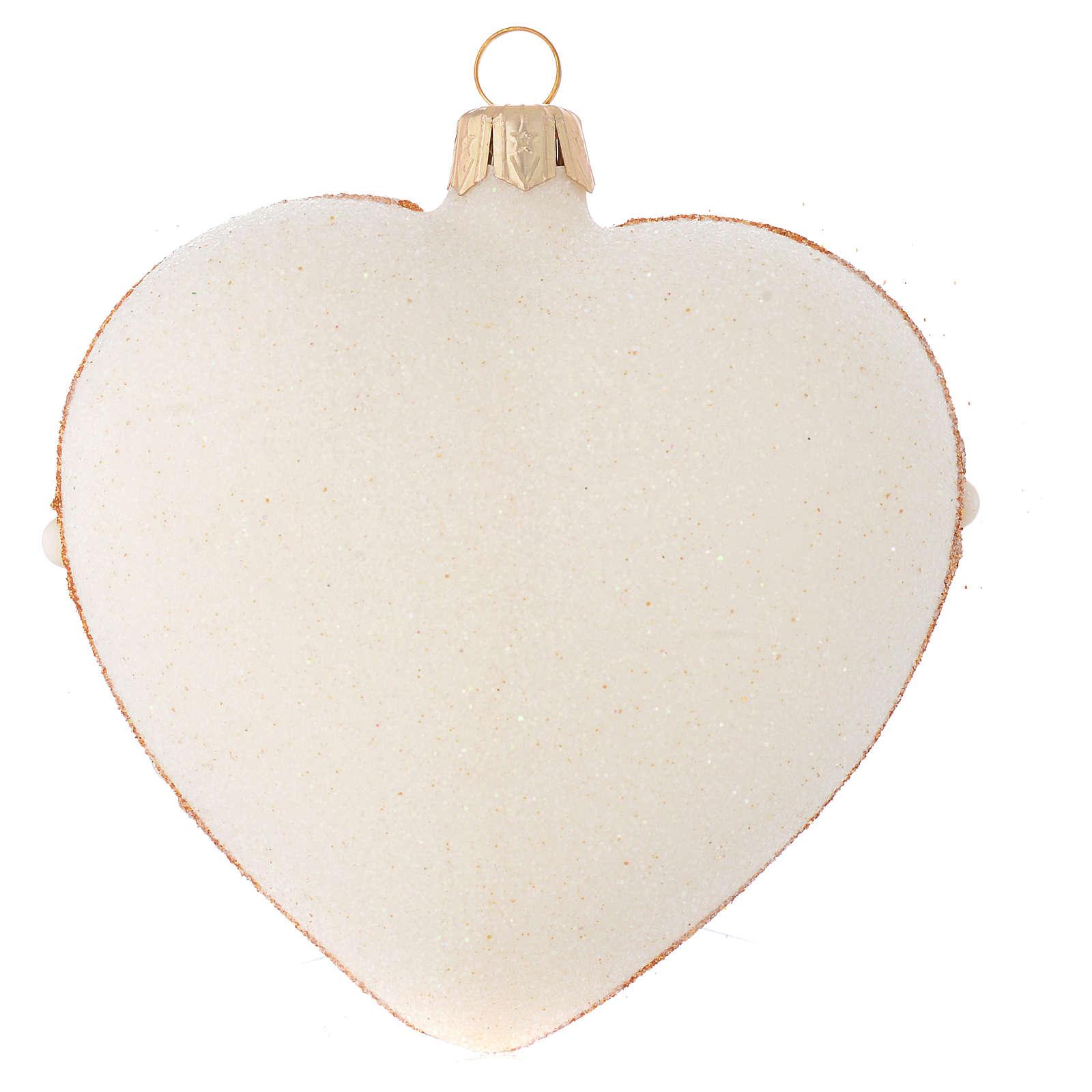 Addobbo Albero Natale cuore avorio decoro oro e rosso 100 mm 4