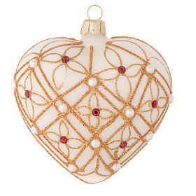 Addobbo Albero Natale cuore avorio decoro oro e rosso 100 mm s1