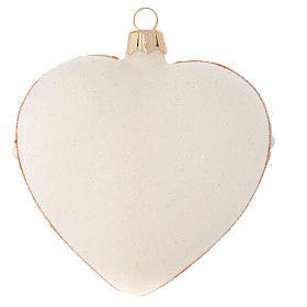 Addobbo Albero Natale cuore avorio decoro oro e rosso 100 mm s2