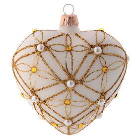 Palline di Natale: Addobbo Albero Natale cuore avorio decoro oro e rosso 100 mm