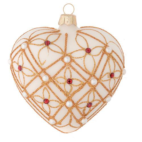 Addobbo Albero Natale cuore avorio decoro oro e rosso 100 mm 1