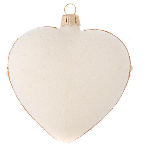 Addobbo Albero Natale cuore avorio decoro oro e rosso 100 mm 2