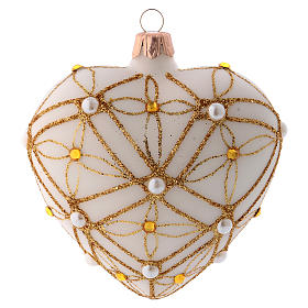 Heart Shaped Christmas bauble in ivory glass with red and gold decorations 100mm s1