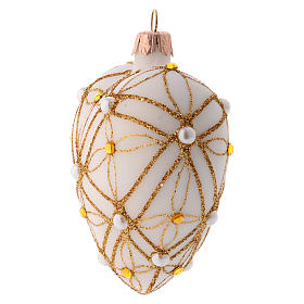 Heart Shaped Christmas bauble in ivory glass with red and gold decorations 100mm s2