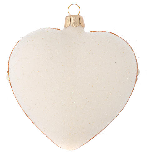 Heart Shaped Christmas bauble in ivory glass with red and gold decorations 100mm 2