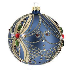 Bola de Navidad vidrio soplado azul y oro 100 mm s2