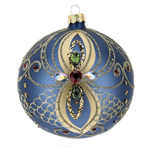 Bola de Navidad vidrio soplado azul y oro 100 mm 1