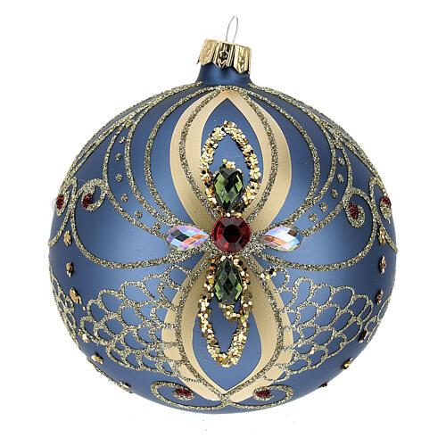 Bola de Navidad vidrio soplado azul y oro 100 mm 3