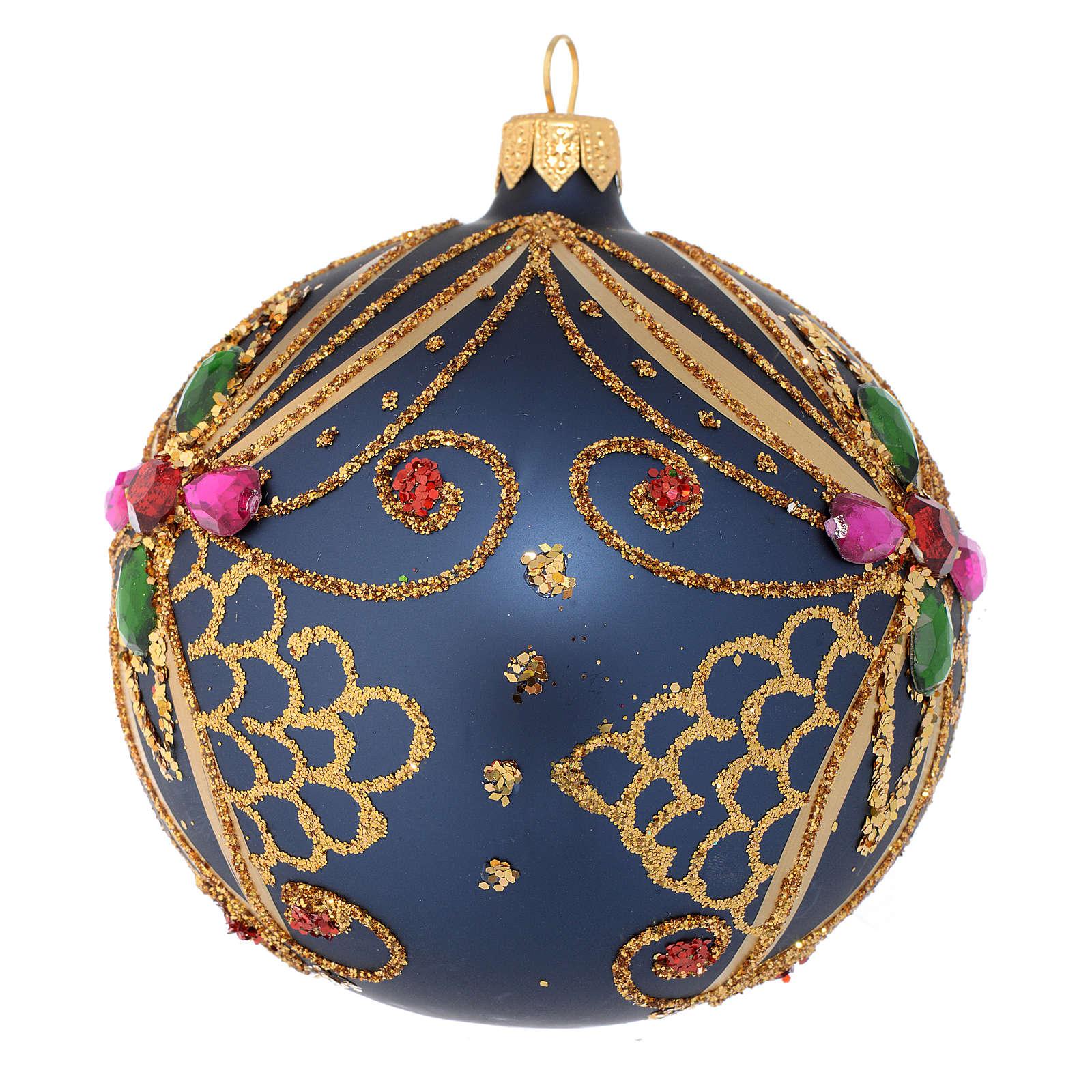 Bombka bożonarodzeniowa szkło dmuchane niebieskie i  złote 100mm 4