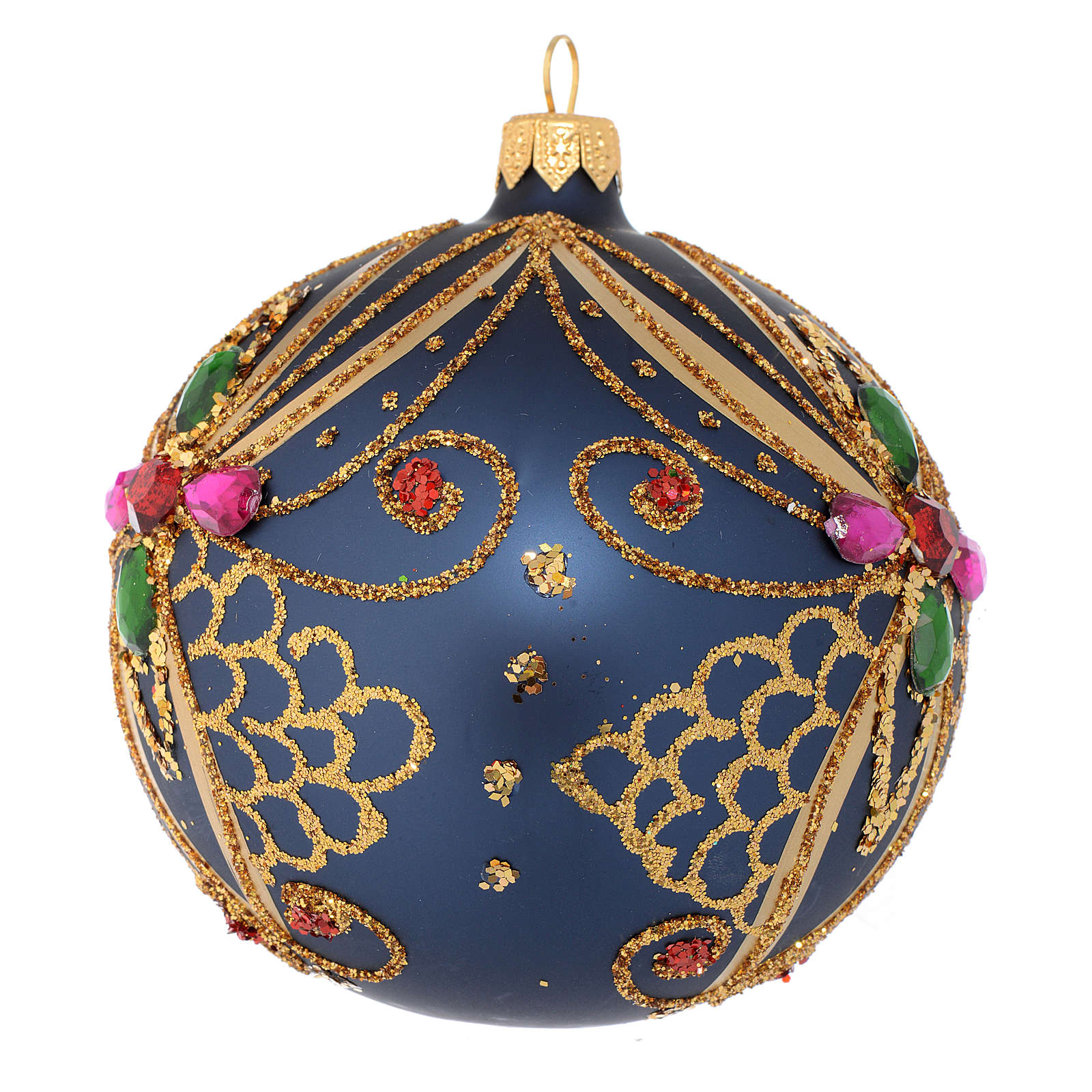 Christmas bauble in blue and gold blown glass 100mm 4