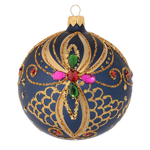 Christmas bauble in blue and gold blown glass 100mm 1