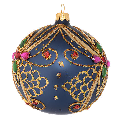 Christmas bauble in blue and gold blown glass 100mm 2