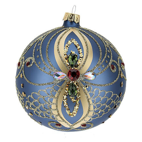 Christmas bauble in blue and gold blown glass 100mm 3