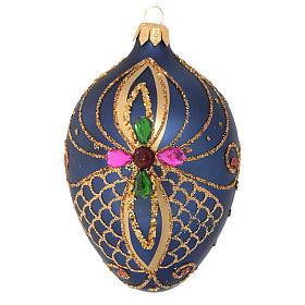 Bolas de Navidad: Bola de Navidad ovalada vidrio soplado azul y oro 13 cm