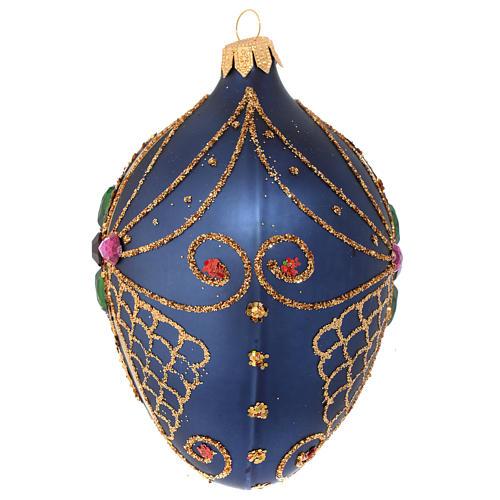 Bola de Navidad ovalada vidrio soplado azul y oro 13 cm 2