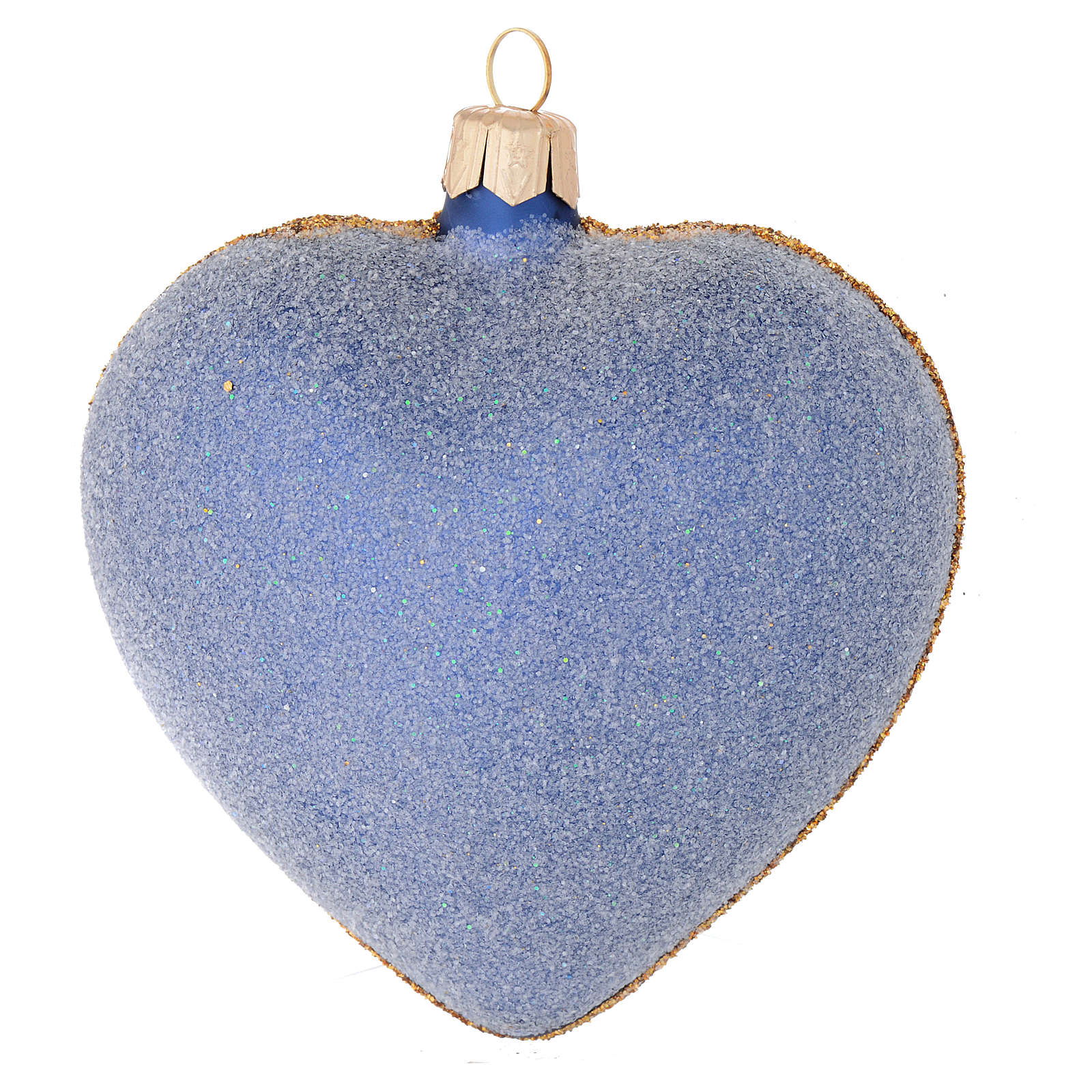 Cuore per Albero di Natale vetro blu decoro oro 100 mm 4